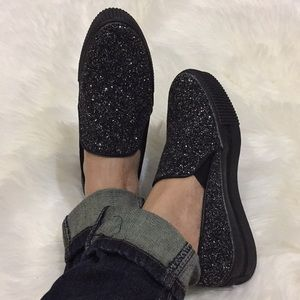 NEW Mi.iM Karri black glittery slip on sneakers